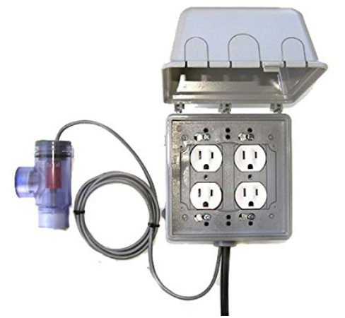 """NO GLITCH Flow Switch 3/4"""" or 1"""" 120 Volt, 4 Outlets (2 switched, 2 constant) (1"""")"""